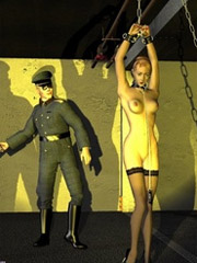 Slave chained and gets her body strictly spanked!